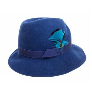 Vintage Feather Fedora Royal Blue Doeskin Wool S/M